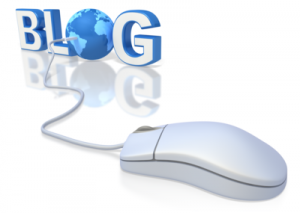 "Mouse connected to a globe in the word ""BLOG""."
