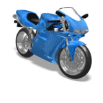 Animated swerving motorcycle.