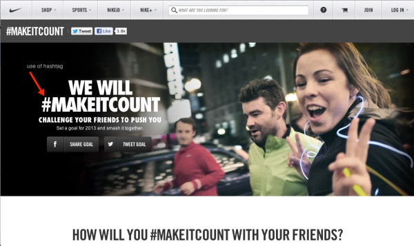 Ad from Nike - We will #MAKEITCOUNT - challenge your friends to push you.