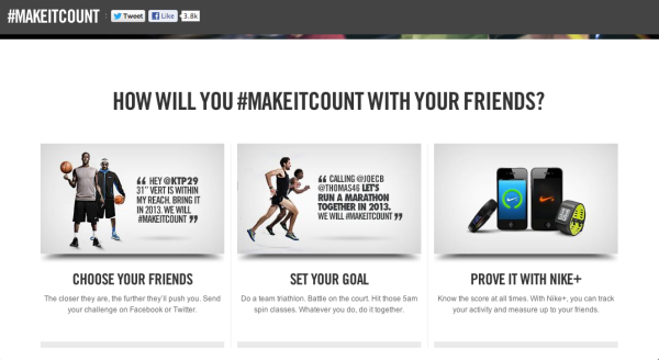 Nike website page for #MAKEITCOUNT campaign.