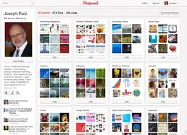 A picture of a man named Joe and his Pinterest page. Social marketing via Pintrest.