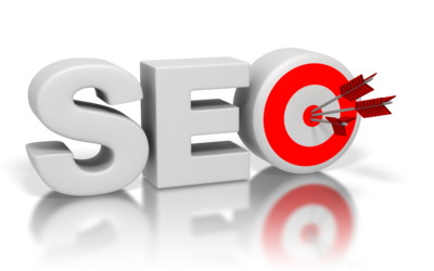 "Web_redesign_and_SEO - SEO letters with a target and arrows in the bullseye of the letter ""O""."