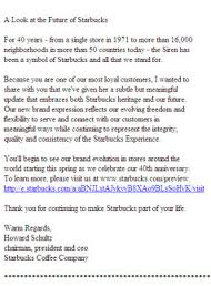 A picture of an email sent to a mobile device from Starbucks.