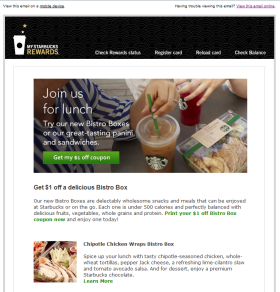 Marketing email from Starbucks Coffee.