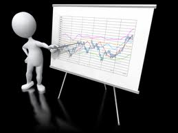 A stick figure pointing at a graph resting on an easel. Data trends via interactive marketing.