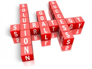 Crossword with Solution, Goal, Success intersecting with Strategy.