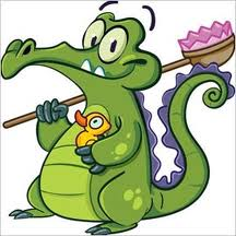 A cartoon of an alligator holding a rubber ducky in one hand and a butterfly net in the other.