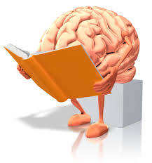 A picture of a brain with arms and legs reading a story.