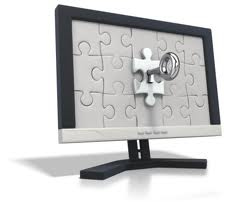 A picture of a computer monitor and within the screen if an image of a gig-saw puzzle.