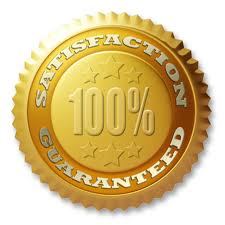 A gold seal that says satisfaction guaranteed