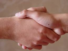 The hand-shake. the importance of honesty in a business relationship.