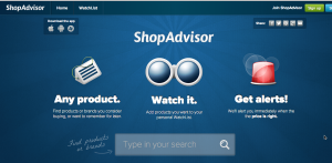 ShopAdvisor simple blue dashboard containing clickable navigation buttons for mobile devices.