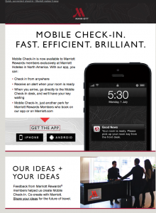 Snapshot of an email with image of a smartphone from Marriott touting mobile check-in.