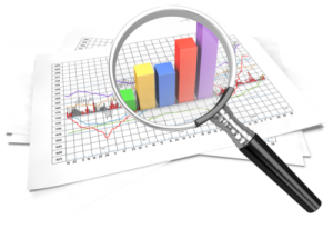 Graphic with charts representing marketing metrics with a magnifying glass over it.