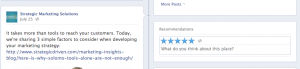 Screen capture of Facebook page showing blue star rating system to illustrate how Facebook provides opportunities for feedback on business pages.