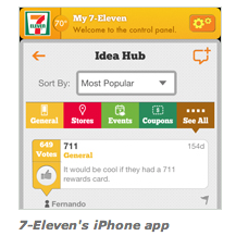 Screen capture of 7-11's iphone app control panel. bright yellow top banner with 7-11 logo with idea hub and search function below.